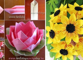 Букети квітів в техніці оригамі. Схеми + ідеї