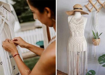 Техніка макраме в одязі: варіанти сплетених суконь