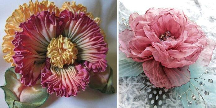 30 способів зробити квітку зі стрічки самотужки