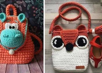 Дитячі рюкзачки та сумочки зв'язані гачком