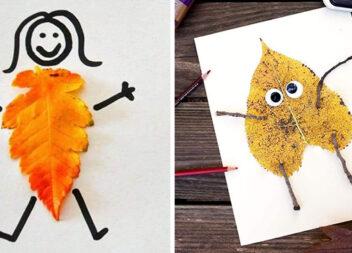 Дитяча творчість: аплікації із листочків (більше 40 фото)