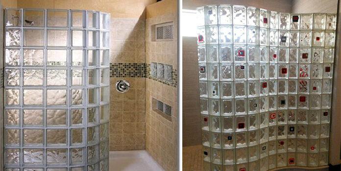 Склоблоки в інтер'єрі ванної кімнати. Забутий, але красивий матеріал для створення душової перегородки