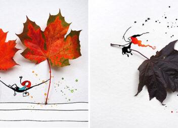Цікаві композиції із поєднанням акварелі та осінніх листочків