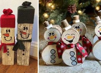 Готуємося до зимових свят. Робимо сніговичків та оленів із деревини (30 ідей)