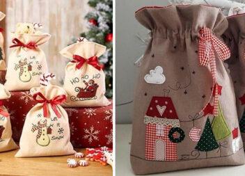 Торбинки для подарунків. Ідеї та шаблони аплікацій