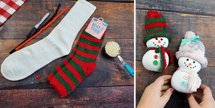 Як створити сніговичка із шкарпетки. Майстер клас