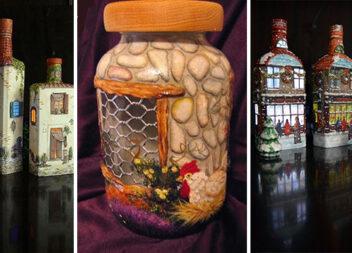 Будиночки (і не тільки) із скляних пляшок. Ідеї для реалізації