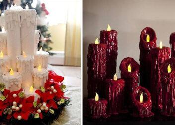 Як зробити новорічну композицію із картонових свічок. Фото кроки