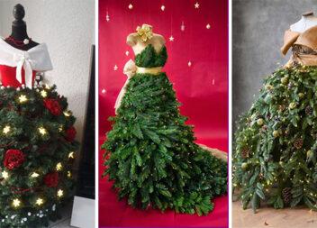 Оригінальний декор: сукня із ялинки. Більше 30 варіантів