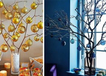 Якщо немає ялинки, святкову атмосферу можна створити за допомогою ялинкових кульок і гілочок