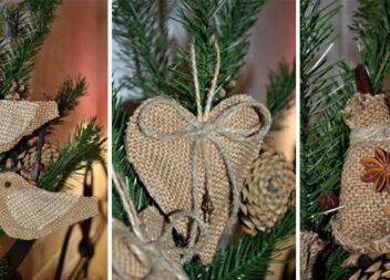 Чудові ідеї: новорічні прикраси із джуту та мішковини