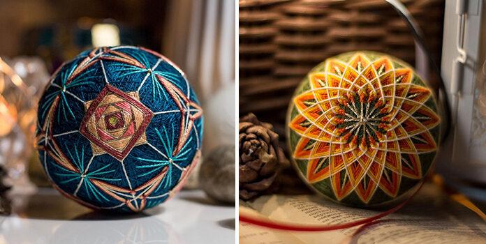 Новорічні кульки, виготовлені в техніці темарі