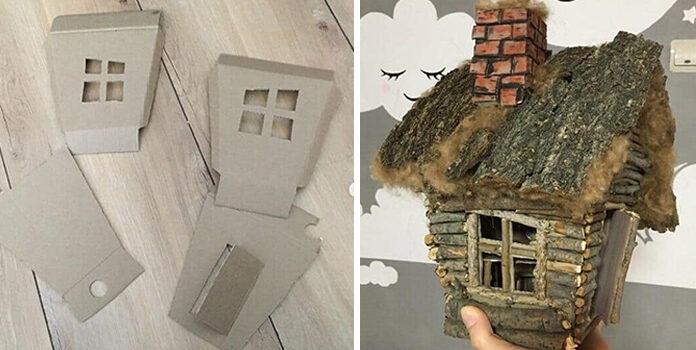 Як створити казкову хатинку із гілочок. Фото кроки