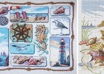 Схеми для вишивки хрестом: листівки «Морські»