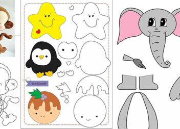 Аплікації тварин із паперу/картону/фетру/тканини. Шаблони