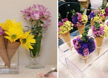 Новий модний декор: квіти у вафельних ріжках