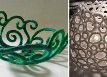 Цікаві ажурні вази з ниток і дроту