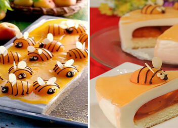 Кумедна прикраса для торта: бджілки із абрикосів