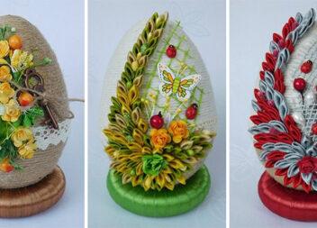 Ідея декору великоднього яйця шпагатом. Ідеї + відео майстер-класи
