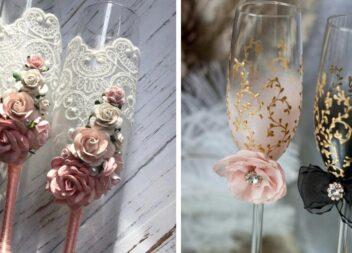 Декор весільних келихів: вибрані трендові ідеї оформлення в 2021 році