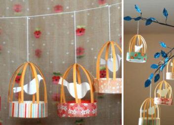"""Паперові ліхтарики """"Пташка в клітці"""" для дитячої кімнати"""