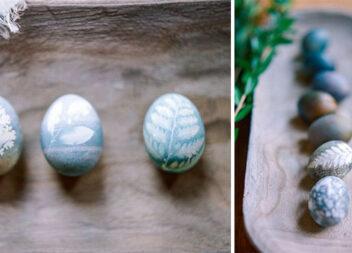 Натуральний спосіб фарбування великодніх яєць з візерунками листочків