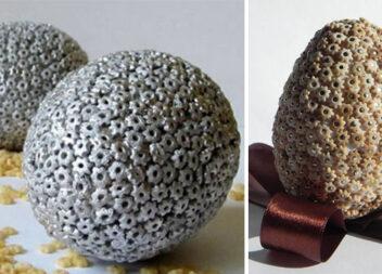 Яйця, декоровані макаронними виробами