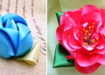 Як зробити квіти з атласних стрічок своїми руками
