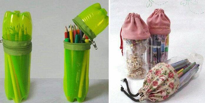 Органайзер на олівці та фломастери із пластикової пляшки