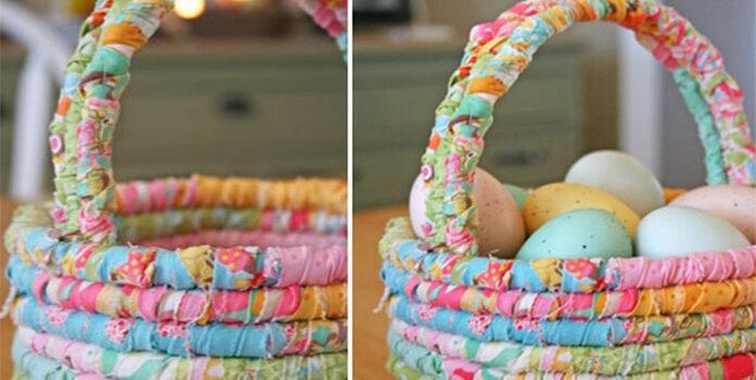 Чудовий великодній кошик з мотузки для білизни та обрізків тканини