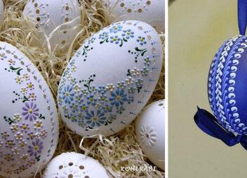 Воскові малюнки на великодніх яйцях