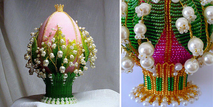 Бісероплетіння: пасхальне яйце із конваліями