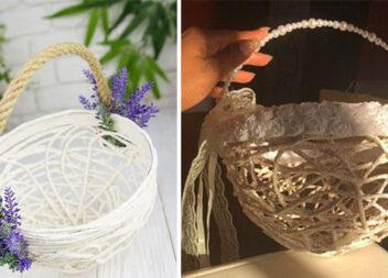 Як створити невеличкий кошичок із пряжі чи мотузки та клею ПВА