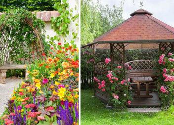 Дизайн квітника біля альтанки: 50 ландшафтних ідей