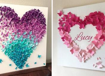 Красиві картини у вигляді серця із паперових метеликів. Шаблони