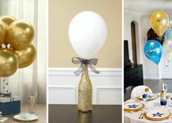 Невеличкі настільні композиції із повітряних кульок. 38 фото