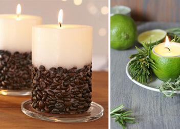 """""""Смачні"""" свічки: фруктова свічка з половинки лимона та свічка з кави"""