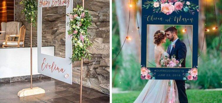 Гігантська рамка для селфі на весіллі. Ідеї для модного декору