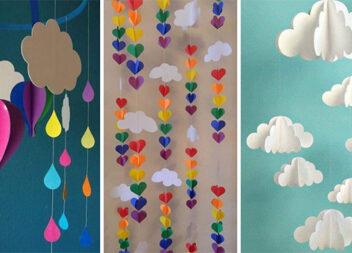 Підвісні композиції із кольорового паперу. Мобілі, гірлянди