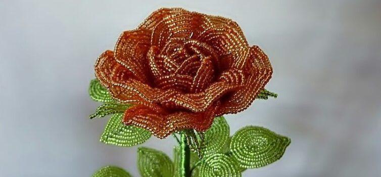 Троянда із бісеру. Фото кроки