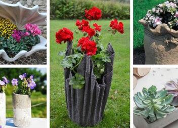 50 неординарних ідей для квіткових вазонів з цементу