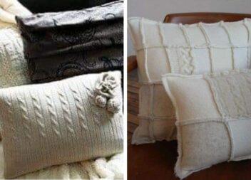 Як із старого улюбленого светра зробити подушку
