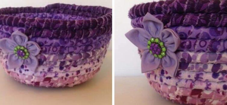 Красива ваза для дрібниць із мотузки та залишків тканини