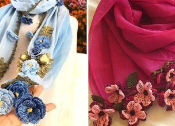 Прикрашаємо легкі шалики квітами, зв'язаними гачком