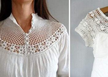 Як оздобити одяг мереживом, зв'язаним гачком самотужки