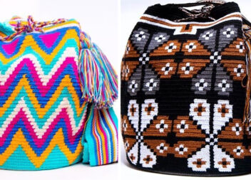 Кілька ідеї яскравих плетених рюкзаків