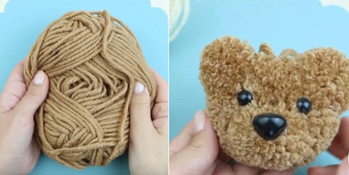Чудовий ведмедик-помпон з пряжі і буквально за пару хвилин