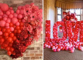 Оформлення свята для закоханих повітряними кульками червоного кольору