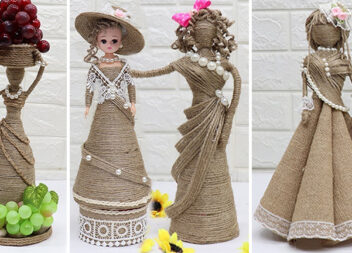 Чудові інтер'єрні ляльки із джуту та мішковини