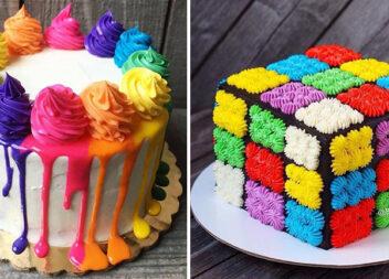 30 неймовірних тортиків в кольорах веселки